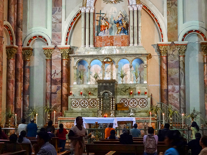 inside a church in Cuenca, Ecuador