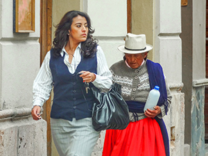 two women walkingin Cuenca, Ecuador