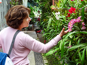 women looking at an orchid inside a church in Cuenca, Ecuador