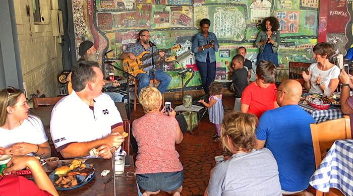 a band playing for a crowd in Memphis, Tennessee