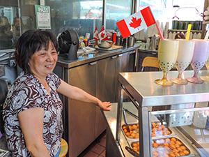 woman in restaurant in Toronto