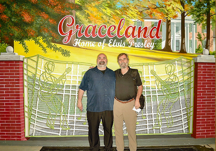 two men at Graceland in Memphis, Tennessee