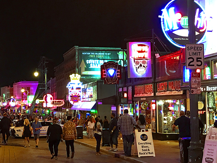 neon signs on a street in Memphis, Tennessee