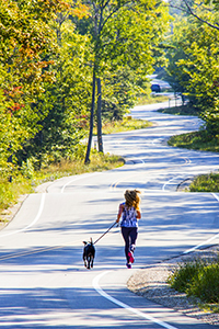 woman walking a dog on road in Door County, Wisconsin