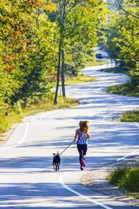 woman walking a dog on road in Door County, Wisconsin
