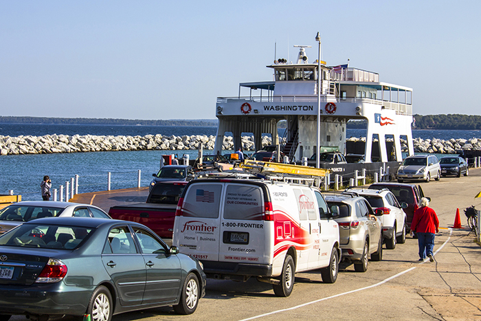 cars waiting for a ferry in Door County, Wisconsin