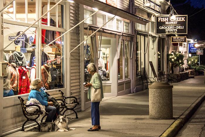 Two women talking in front of a store in Door County, Wisconsin