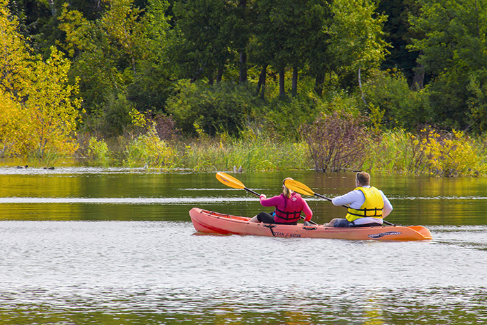 kayakers on a lake in Door County, Wisconsin