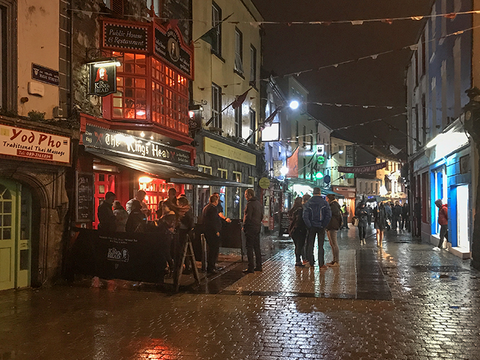a street at night in Galway