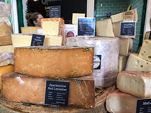 cheeses on a counter in Galway