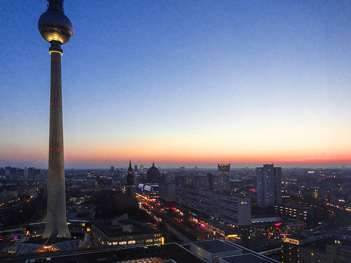 Viewinf the Fernsehturm and Berlin at sunset, one of the Best Things To Do In Berlin, Germany