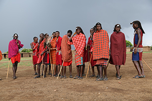 Maasai warriors in their village on safari in kenya
