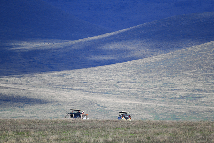 jeeps on a plain in Tanzania