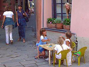 girls having a tea party in Cinque Terre Italy