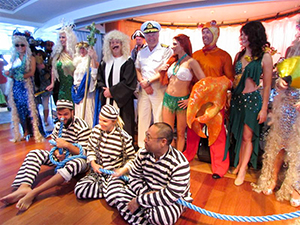 people in costumes on a Pacific cruise