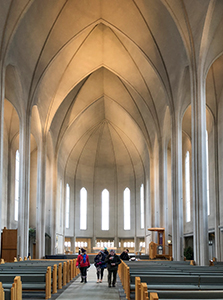 people in a church in Iceland
