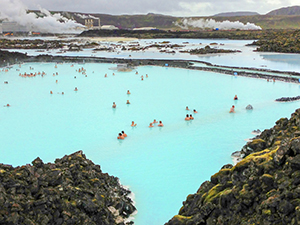 people in a lagoon in Iceland