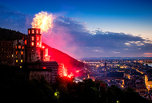a castl on fire in Heidelberg