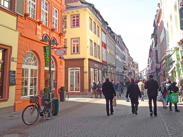 people on a street in Heidelberg