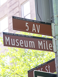 a signpost Museum Mile New York