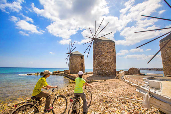 old windmills in the Greek islands