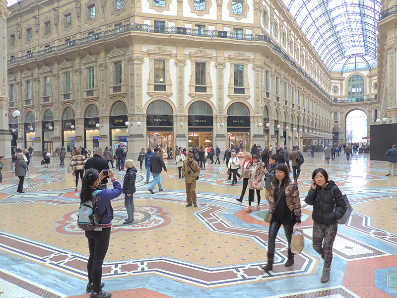 people in an ornate mall - day trip from Milan