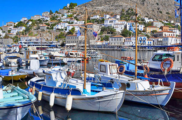 boat in a harbor in the Greek islands
