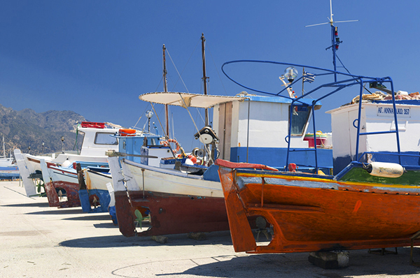 fishing boats in the Greek islands