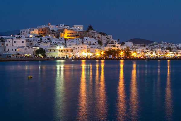 a city at night in teh Greek islands