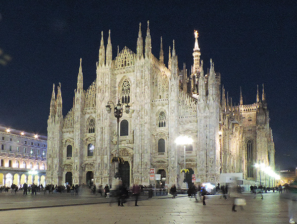 an ornate cathedral at night