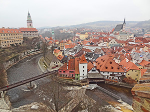 an old city and castle seen on a day tour from Prague