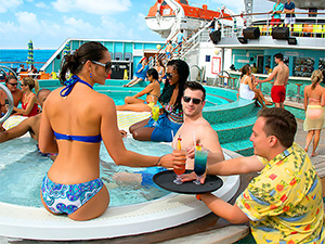 people having drinks at a pool on a mini-cruise