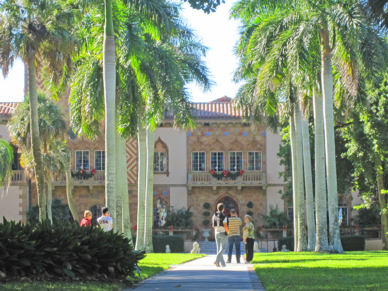 people in friont of a mansion -- Ringling mansion - ringling circus museum