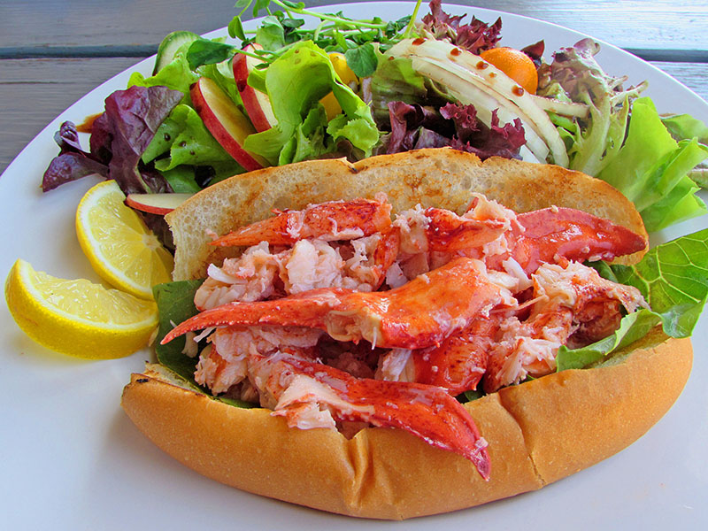 a large lobster roll made on Prince Edward Island