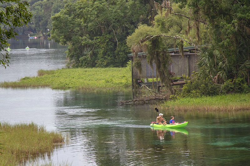 people in a kayak in Rainbow Springs State Park, Dunnellon, FL