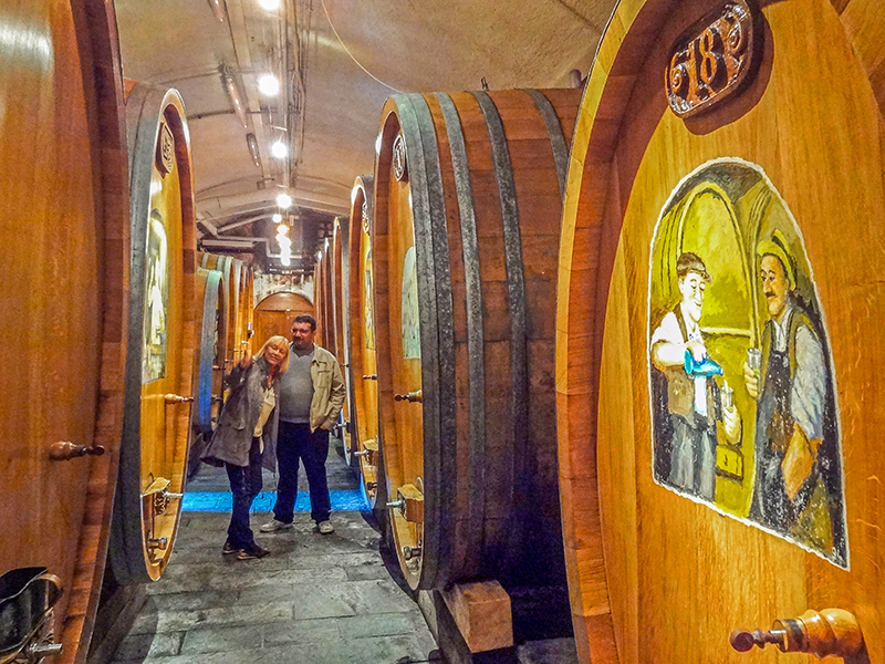 People in the cellar of Domaine Bovy
