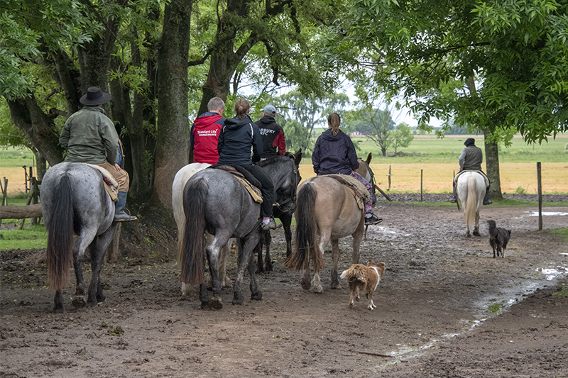 gauchos on horses bring visitors out on the pampas