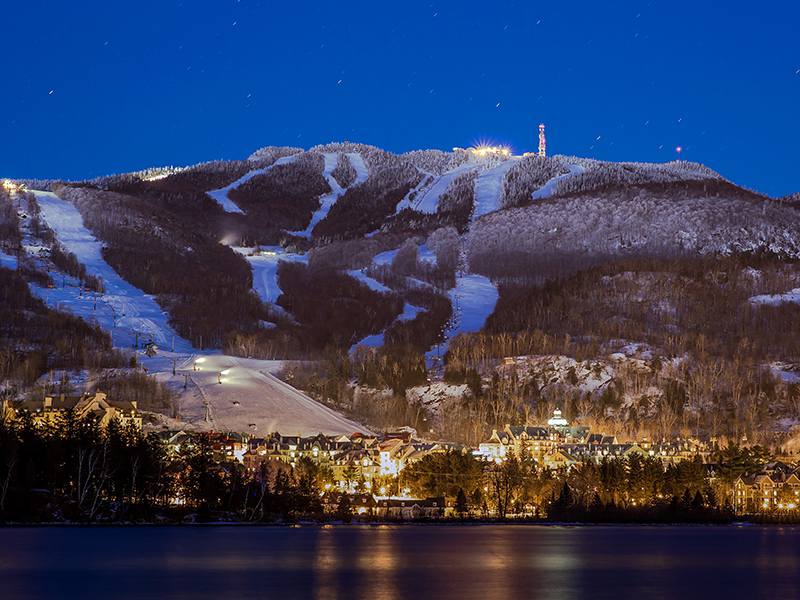 Mount Tremblant Village and the mountain at night