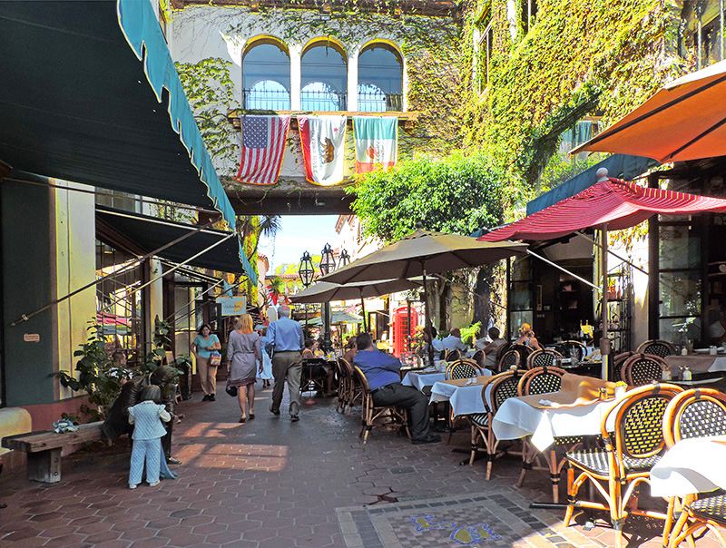 people walking past boutiques and cafes in downtown Santa Barbara