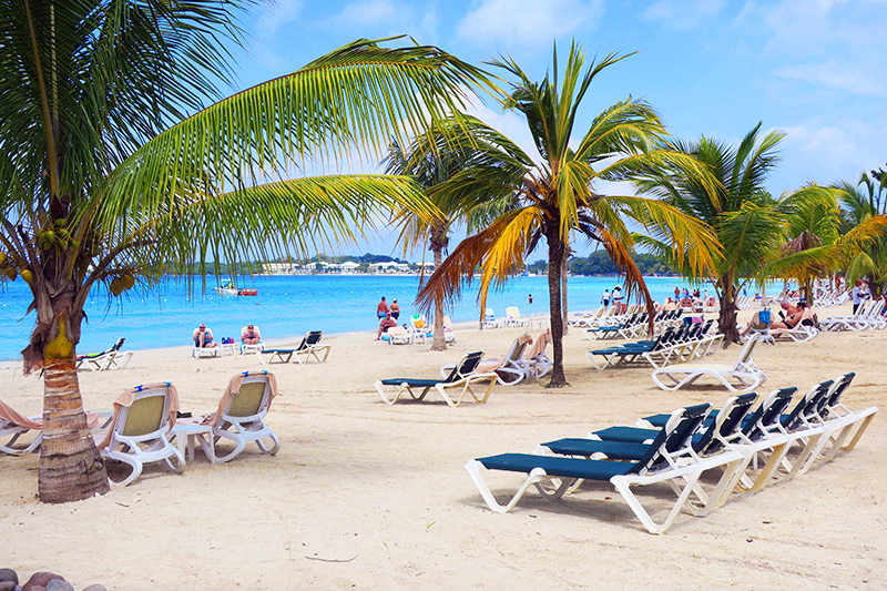 The beach at the Riu Palace Tropical Bay in Negril