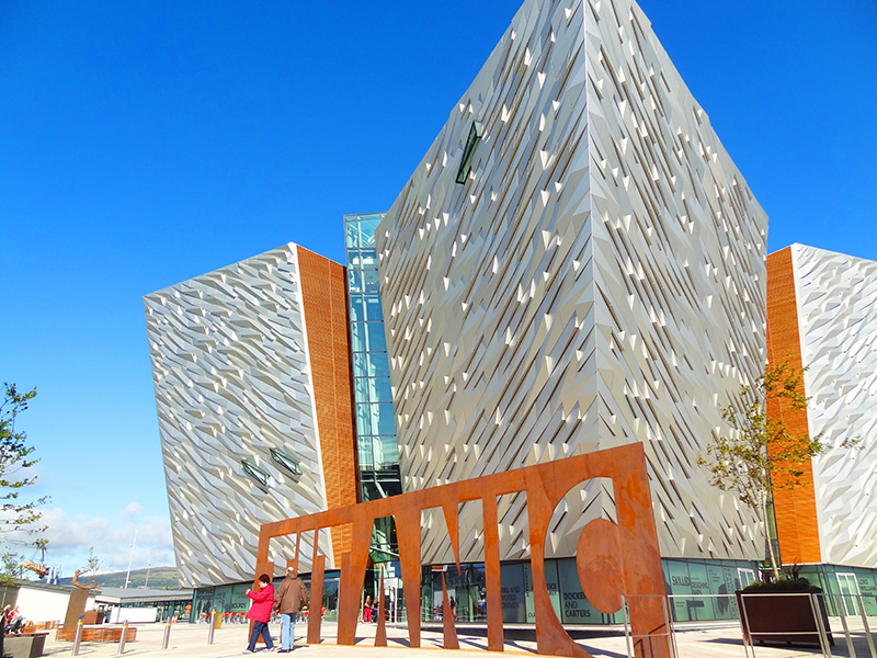 the modernistic design of the front entrance of teh Titanic museum