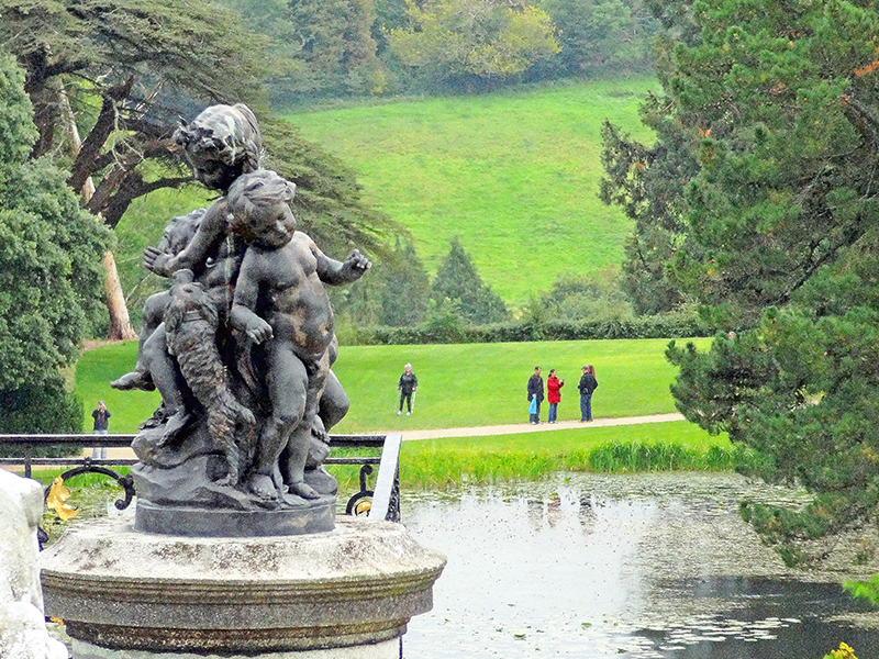 statues on the vast lawn of an estate, one of the good day trips from Dublin