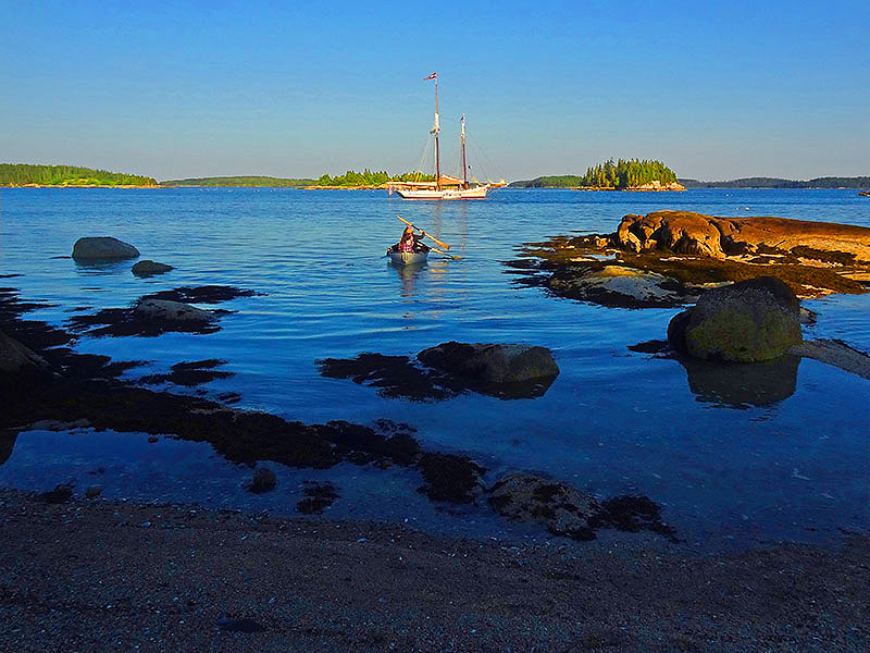 a windjammer at anchor on the Maine coast