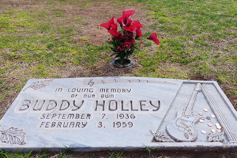 The gravesite of Buddy Holley in the Texas panhandle