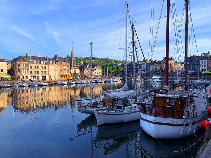 boats in the harbor of Honfleur, seen on a trip to Normandy from Paris