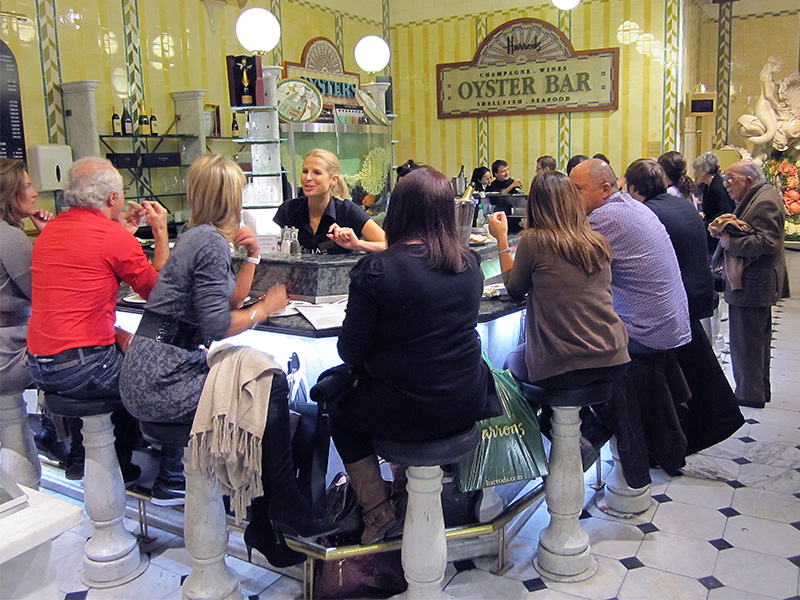 people on a London Walk visiting teh Oyster Bar in Harrods