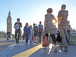 people on a walk in London near Big Ben
