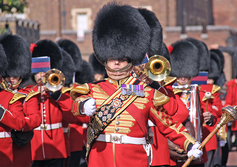 an army band in ceremonial dress