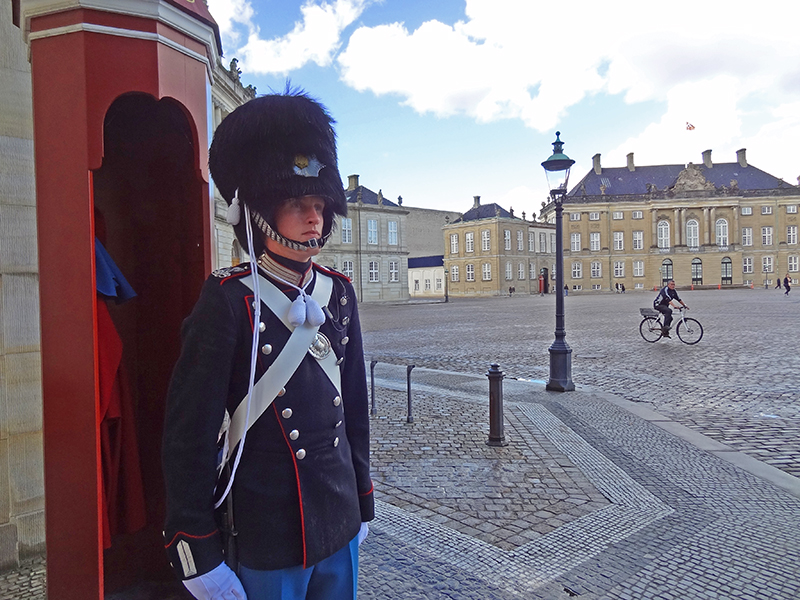 guard at a palace, one of the things to see in Copenhagen