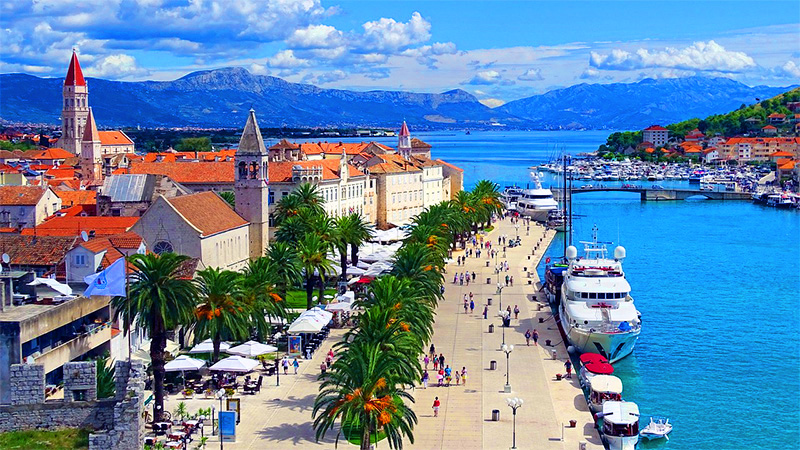 yachts in the harbor of Trogir, one of the best cities in Croatia